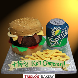 Burger and Fries Birthday Cake