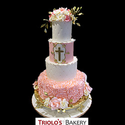 First Communion Cake with Cross from Triolo's Bakery