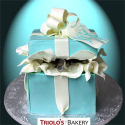 Tiffany Box Engagement Cake from Triolo's Bakery Bedford, NH, USA