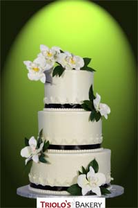 White Orchid Wedding Cake - Triolo's Bakery