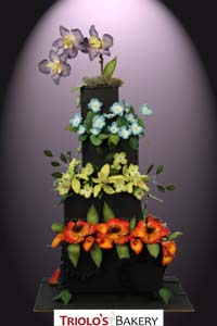 Garden Flowers Wedding Cake - Triolo's Bakery