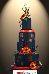 Sunset Poppies Wedding Cake - Triolo's Bakery