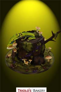 Whimiscal Tree Frog Forest Wedding Cake - Triolo's Bakery