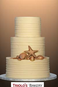 Golden Seashells Wedding Cake - Triolo's Bakery