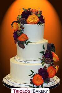 Autumn Blossoms Wedding Cake - Triolo's Bakery