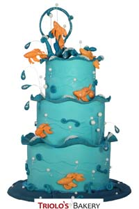 Under Water Themed Wedding Cake - Triolo's Bakery