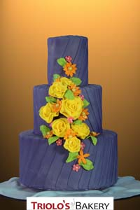 Purple Drapes Wedding Cake - Triolo's Bakery