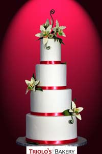 Simply Elegant Orchids Wedding Cake - Triolo's Bakery