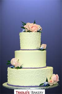 White Lace Rose Wedding Cake - Triolo's Bakery