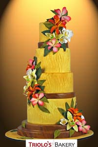 Tropical Blossoms Wedding Cake - Triolo's Bakery
