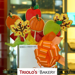 Fall cookies from Triolo's Bakery.  Includes 2 Maple Leaf cookies, two pumpkin cookies, and two fruit cookies. Pefect to send as gifts or to use as party favors. These unique treats are awesome for back to school, teacher appreciation, fall birthdays, thanksgiving favors, and more.