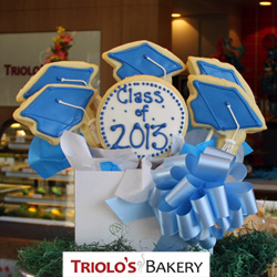 The Graduation Cookie Gift Basket with perfect for the graduate, the graduating class, and graduation parties.