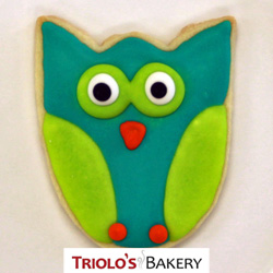 The Owl Cookie Favor, a custom cookie design for gift baskets, cookie bouqets, and favors.