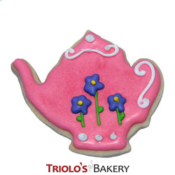 The dainty pink Teapot cookies add a level of elegance and sophistication. The Teapot Cookie Favor, perfect for tea party and garden party favors.  Send in a gift basket or cookie bouquet.