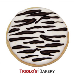 The Zebra Cookie Favor, perfect for safari. animal prints, zebra, and black and white party favors. Send in a gift basket or cookie bouquet.