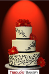 Lace and Flowers Wedding Cake - Triolo's Bakery