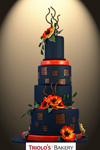 Sunset Poppies Wedding Cake - Triolo's Bakery