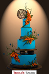 Tropical Sunset Calla Lilies Wedding Cake - Triolo's Bakery