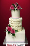 Simple with Fresh Pink Roses Wedding Cake - Triolo's Bakery