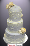 Shabby Chic Lace Wedding Cake - Triolo's Bakery