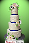 Chic Brushed Embroidery Wedding Cake - Triolo's Bakery